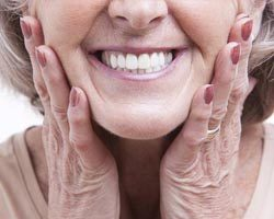 Close up of older woman smiling